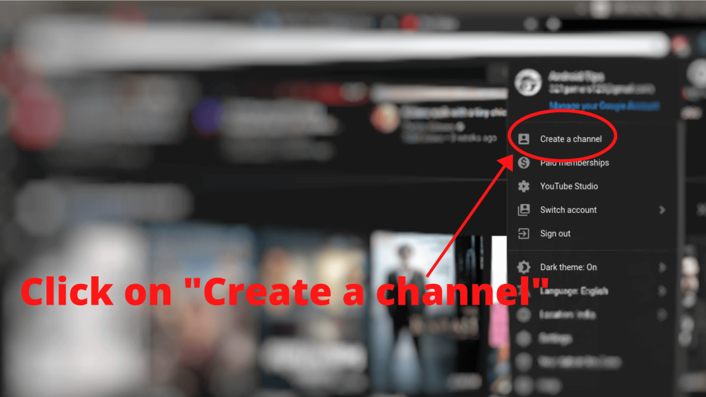 """click on """"Create a Channel"""" (create YouTube channel step-2)"""