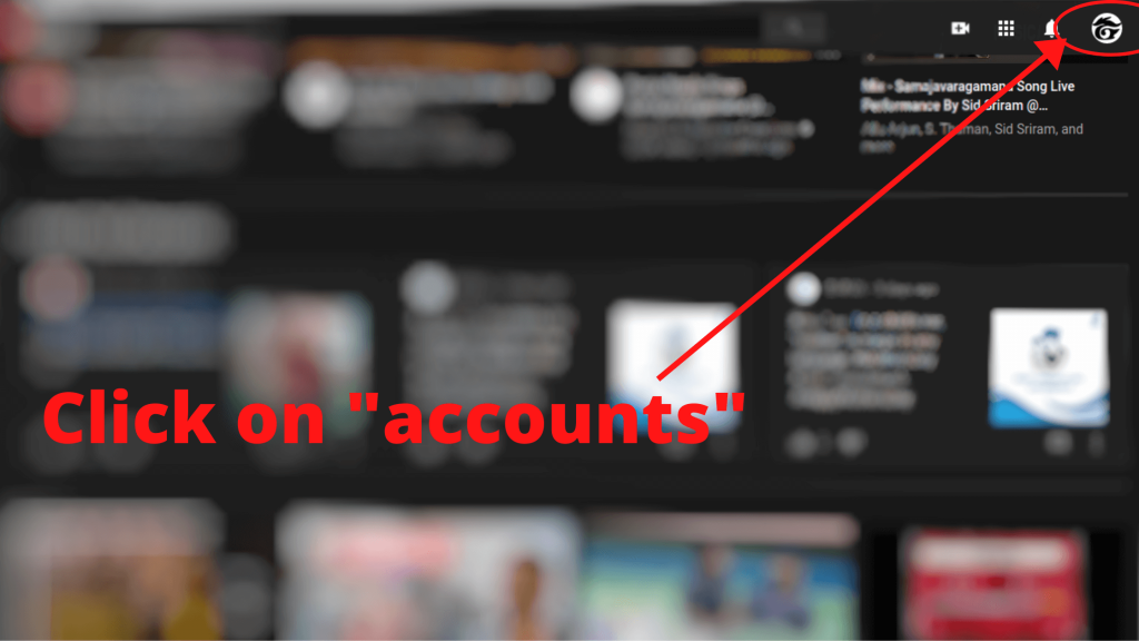 click on accounts (create YouTube channel step-1)