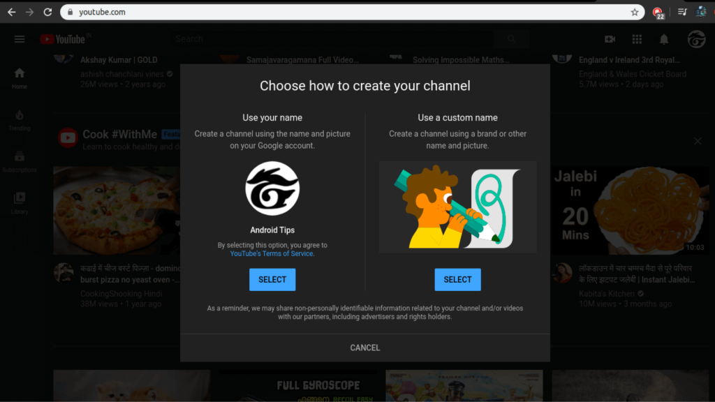 Choose how to create your youtube channel (step-4)