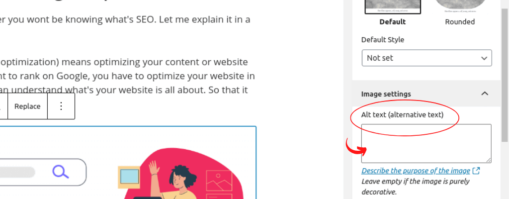 Add alt attributes to your image (on wordpress)