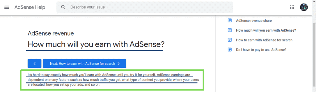 How much will you earn with Adsense