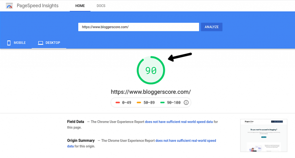 Google page speed insights-Website loading speed test