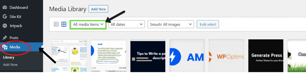 Go to media library in WordPress dashboard
