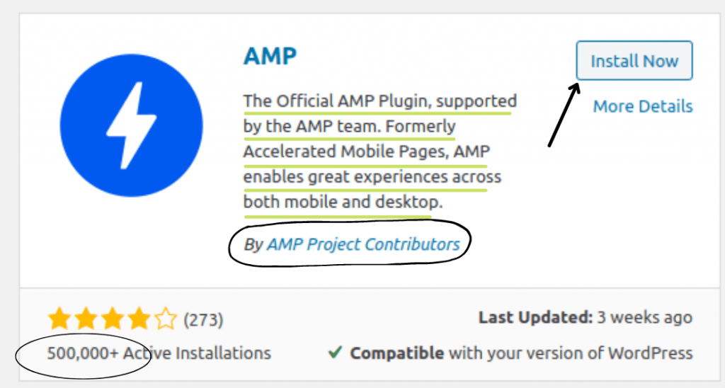Install AMP plugin to make WordPress website load fast in mobile