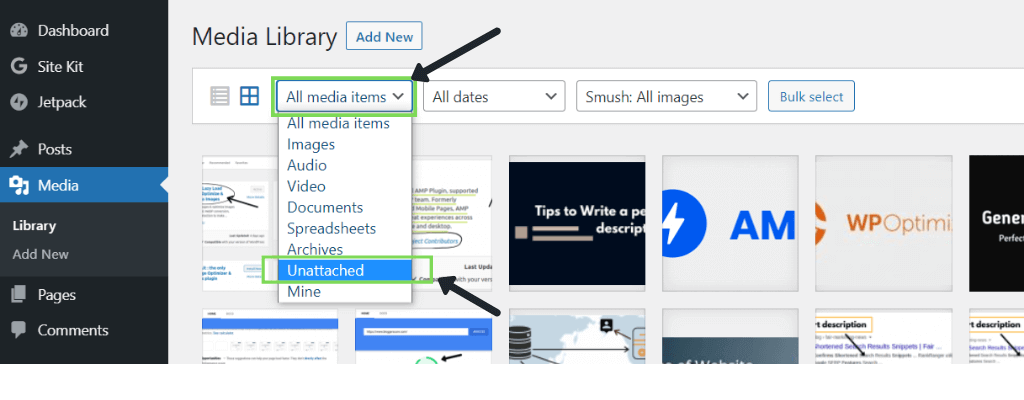 Select unattached - clean up media library