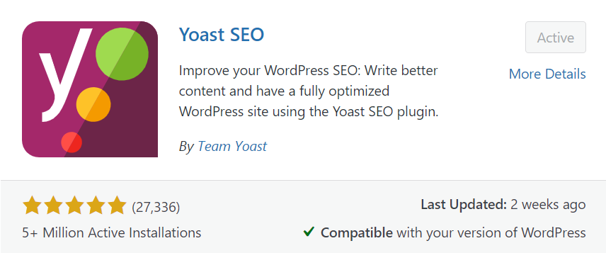 Yoast SEO - Suggested plugin for On page SEO